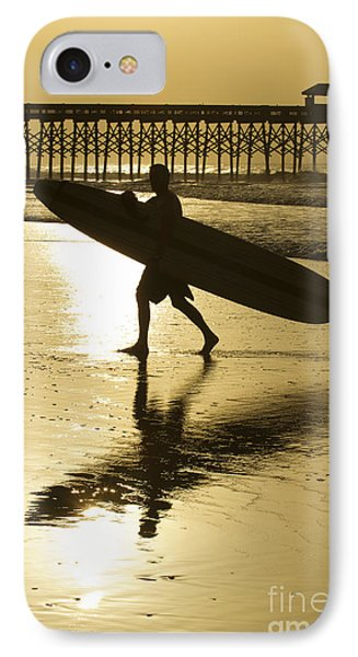 Morning Session Longboard Surfing Folly Beach Sc  IPhone Case