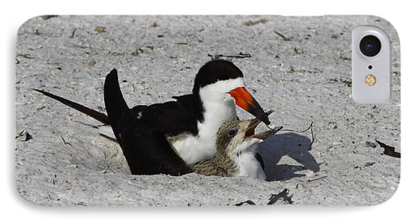 Mother And Baby Black Skimmer Phone Case by Barbara Bowen