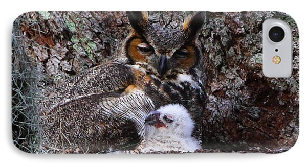 Mother And Baby Owl Phone Case by Barbara Bowen
