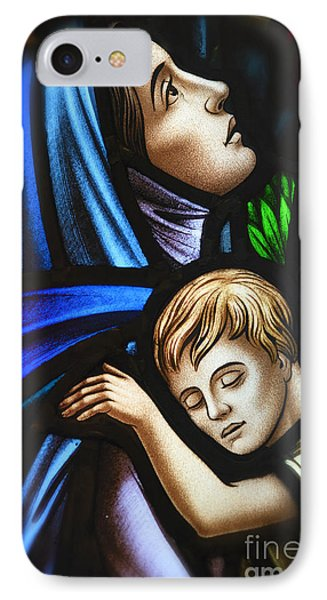 Mother And Child Stained Glass IPhone Case by Verena Matthew