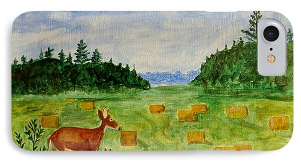 IPhone Case featuring the painting Mother Deer And Kids by Sonali Gangane