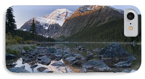 Mount Edith Cavell, Cavell Lake, Jasper Phone Case by Philippe Widling