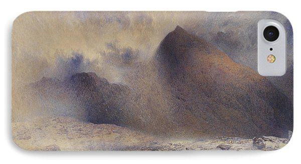 Mount Snowdon Through Clearing Clouds Phone Case by Alfred William Hunt