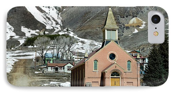 IPhone Case featuring the photograph Mountain Chapel With Red Steps by Lorraine Devon Wilke