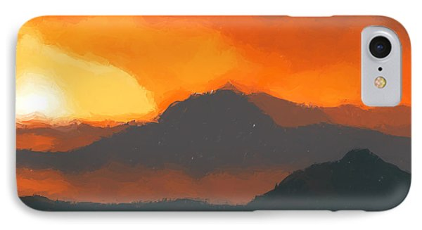 Mountain Sunset Phone Case by Pixel  Chimp