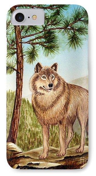 IPhone Case featuring the painting Mountain Wolf by Judy Filarecki