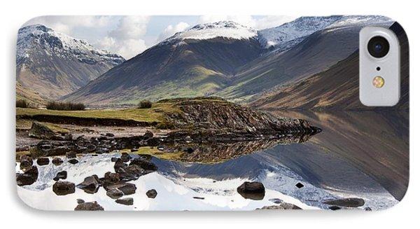 Mountains And Lake At Lake District IPhone Case by John Short
