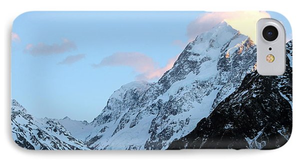 IPhone Case featuring the photograph Mt. Cook With Sunlit Clouds by Laurel Talabere