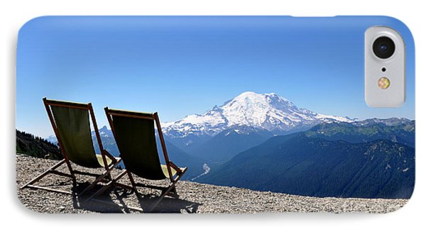 Mt. Rainier Chairs And Chipmunk IPhone Case by Tanya  Searcy