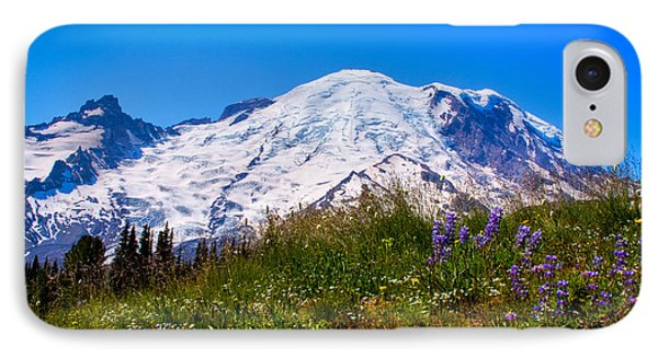 Mt Rainier Meadow With Lupine Phone Case by David Patterson