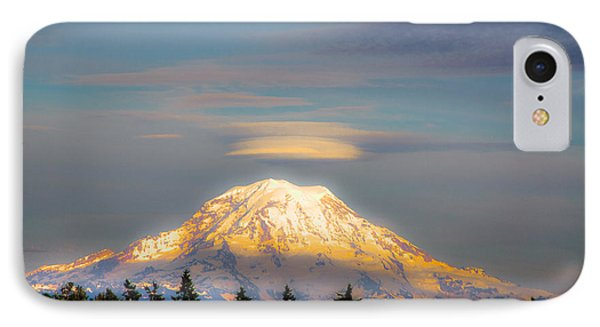 Mt Rainier Sunset With Lenticular Clouds Phone Case by David Patterson