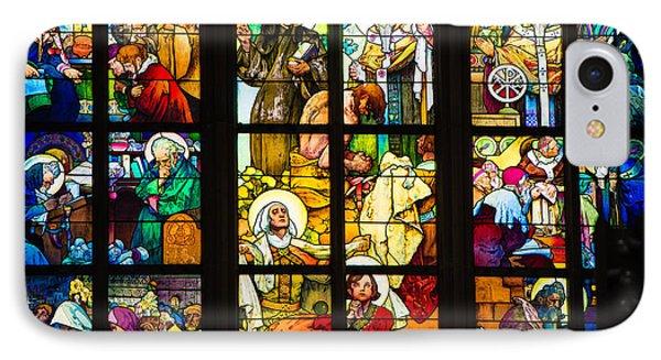 Mucha Window St Vitus Cathedral Prague Phone Case by Matthias Hauser