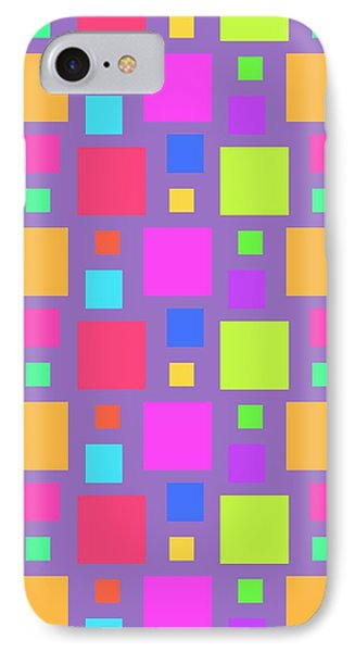 Multicoloured Squares IPhone Case by Louisa Knight