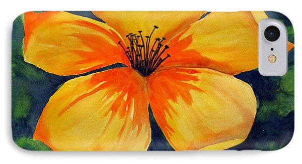 IPhone Case featuring the painting Mysterious Yellow Flower by Debi Singer