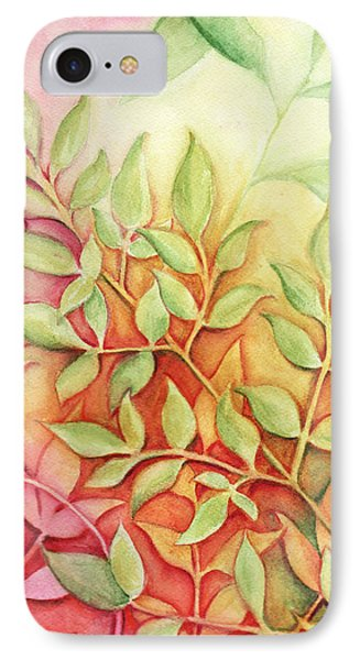 IPhone Case featuring the painting Nandina Leaves by Carla Parris