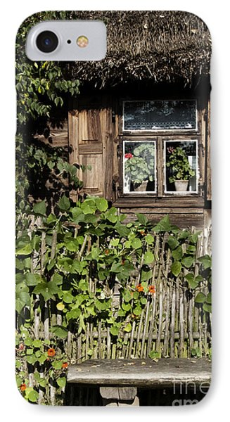 IPhone Case featuring the photograph Nasturtium Bench by Agnieszka Kubica