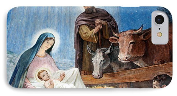 Nativity Painting At Shepherds Fields Phone Case by Munir Alawi