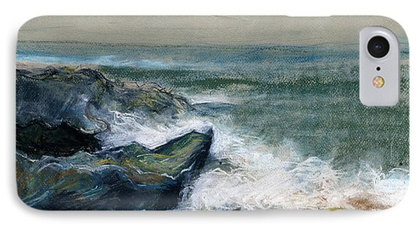 Nature Beach Landscape Of Sea In Storm Blue Green Water White Wave Breaks On Rock Clouds In Sky  IPhone Case by Rachel Hershkovitz