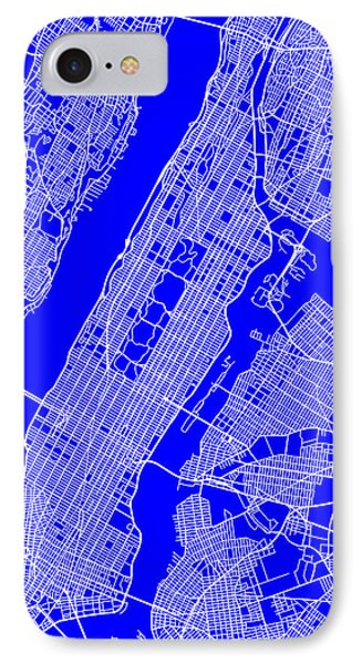 New York City Map Streets Art Print   IPhone Case by Keith Webber Jr