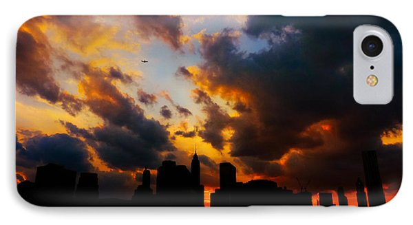 City Sunset iPhone 7 Case - New York City Skyline At Sunset Under Clouds by Vivienne Gucwa