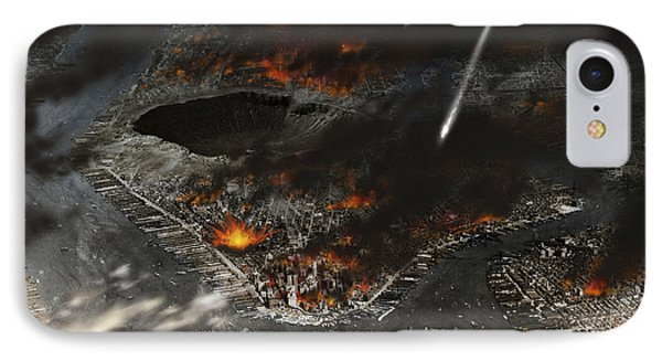 New York Is Being Pummeled By Meteors IPhone Case by Ron Miller