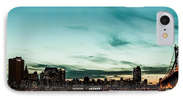 New Yorks Skyline At Night Ice 1 Phone Case by Hannes Cmarits