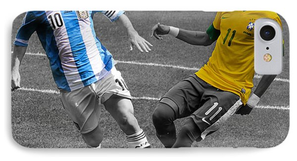 Neymar And Lionel Messi Clash Of The Titans Black And White IPhone Case by Lee Dos Santos