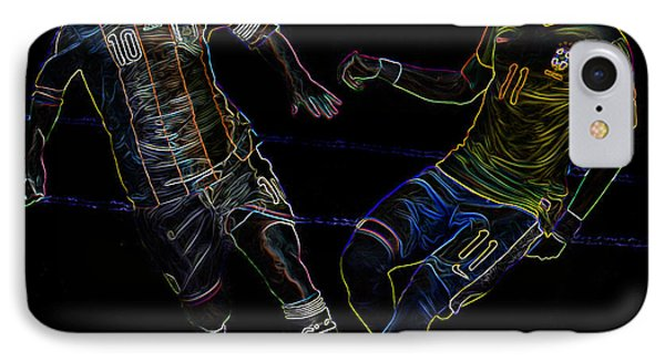 Neymar And Lionel Messi Clash Of The Titans Neon IPhone Case by Lee Dos Santos