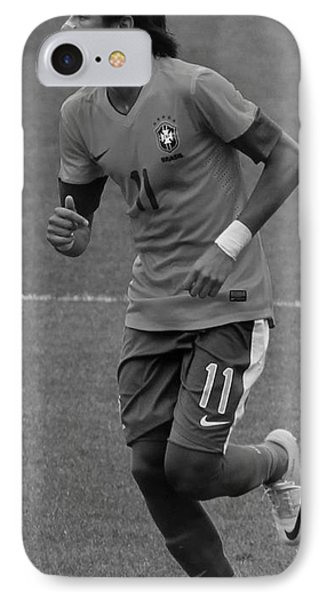 Neymar Running Black And White IPhone Case by Lee Dos Santos