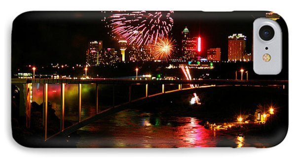 IPhone Case featuring the photograph Niagara Falls Fireworks by Mark J Seefeldt