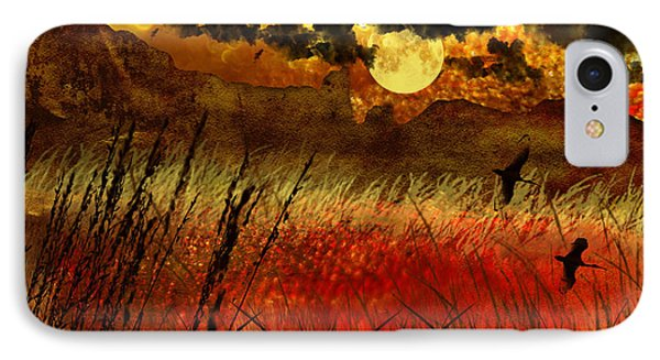 Night Falls Over The Land IPhone Case by Ellen Heaverlo
