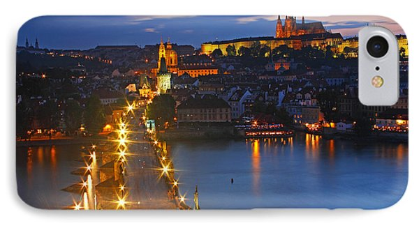 Night Lights Of Charles Bridge Or Phone Case by Trish Punch