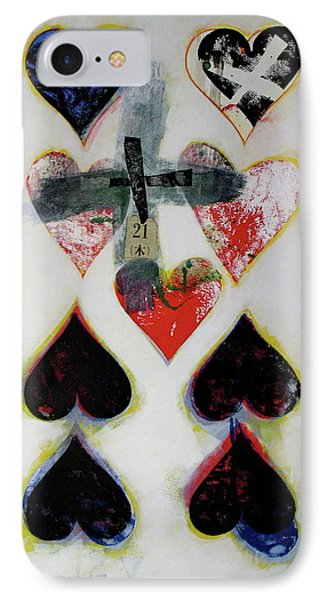 Nine Of Hearts 21-52 IPhone Case by Cliff Spohn