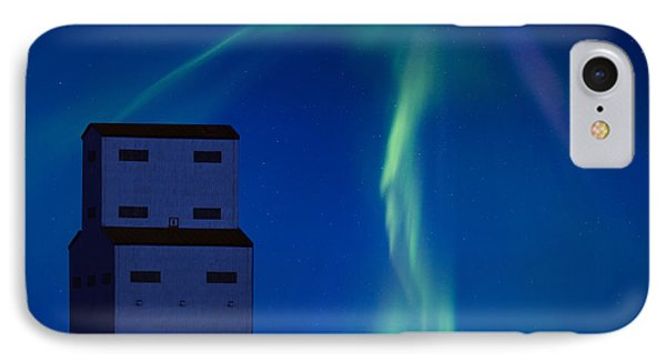 Northern Lights And Grain Elevator Phone Case by Mark Duffy