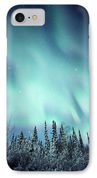 Northern Lights Over Snow Covered Phone Case by Robert Postma