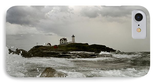 IPhone Case featuring the photograph Nubble Lighthouse In The Thick by Rick Frost