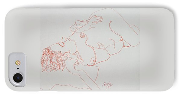 Nude Resting In Red IPhone Case by Rand Swift