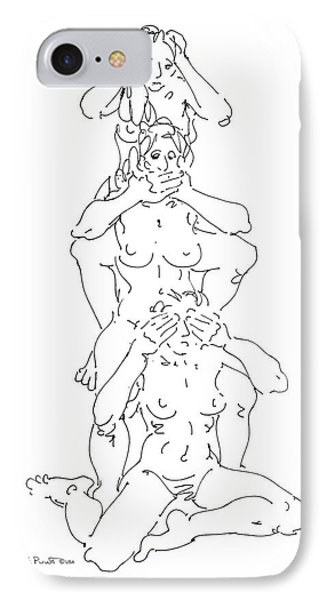 IPhone Case featuring the drawing Nude Female Drawings 5 by Gordon Punt