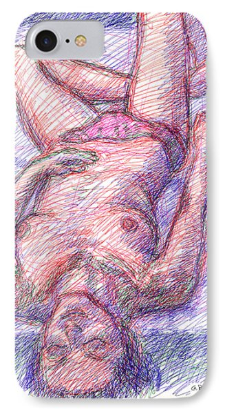 IPhone Case featuring the drawing Nude Female Sketches 6a by Gordon Punt