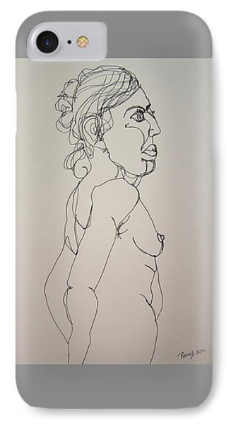 Nude Girl In Contour IPhone Case by Rand Swift