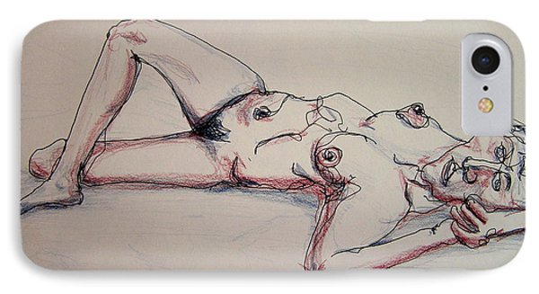 Nude In Contour Laying IPhone Case by Rand Swift