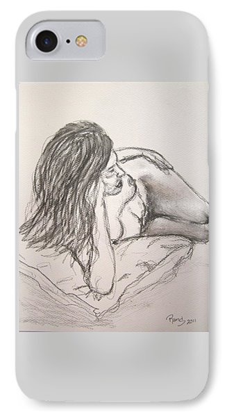 Nude On Pillow IPhone Case by Rand Swift