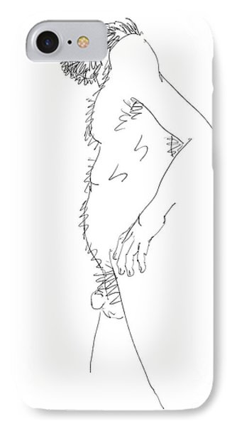 IPhone Case featuring the drawing Nude Male Drawings 6 by Gordon Punt