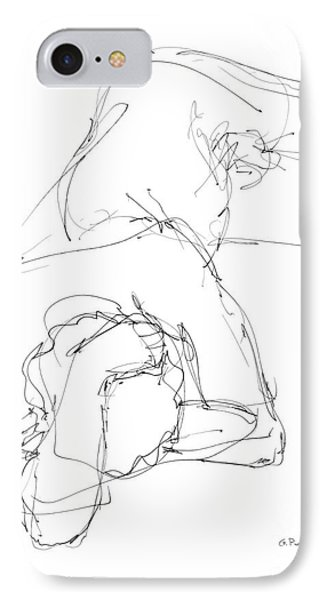 IPhone Case featuring the drawing Nude Male Drawings 7 by Gordon Punt