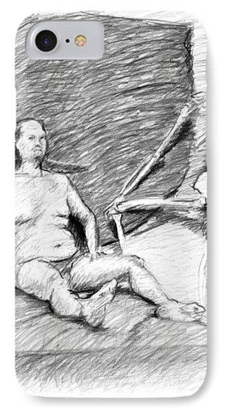 Nude Man With Skeleton Phone Case by Adam Long