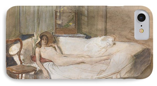 Nude On A Sofa IPhone Case by John Ward