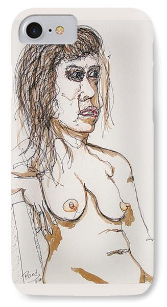 Nude Sitting With Ink IPhone Case by Rand Swift