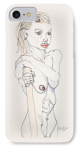 Nude With Walking Stick IPhone Case by Rand Swift