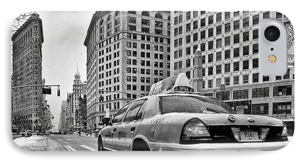 Nyc Cab And Flat Iron Building Black And White IPhone Case