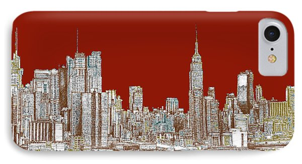 Nyc Red Sepia  Phone Case by Adendorff Design